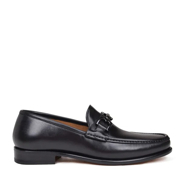 All Black Leather Slip On Shoes
