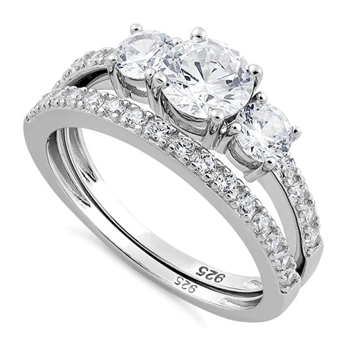 sterling silver clear engagement