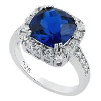 Sterling Silver Deep Blue Sapphire Cushion CZ Ring