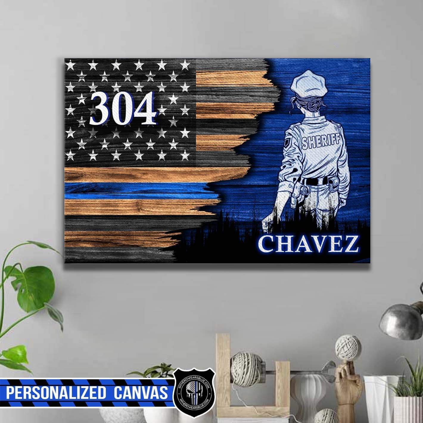 personalized canvas half flag