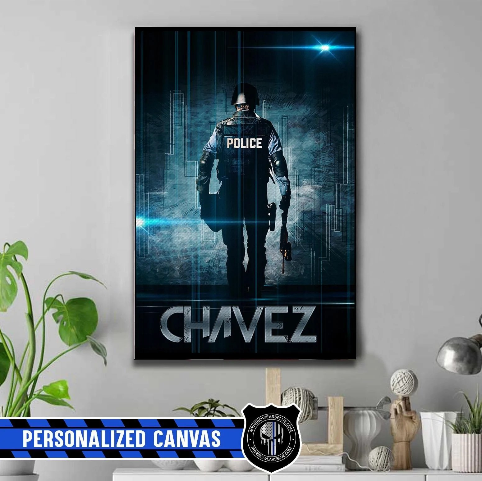 personalized canvas police officer