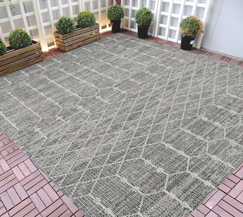 hr indoor outdoor area rugs 8x10 moroccan trellis pattern gray outdoor carpet lasts long under sunlight grey ivory