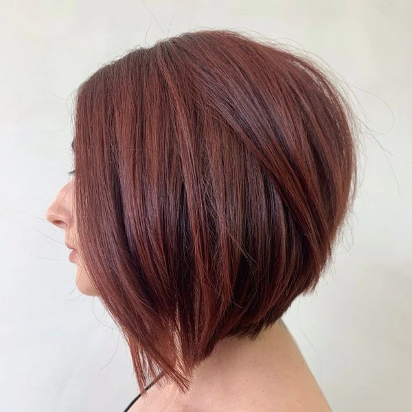 stacked angled bob with texture