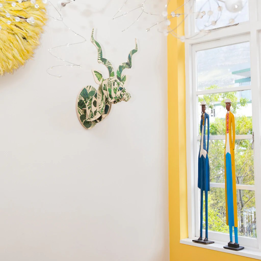 Kudu Trophy Head with Luscious Leaf print (med) – Head On Design
