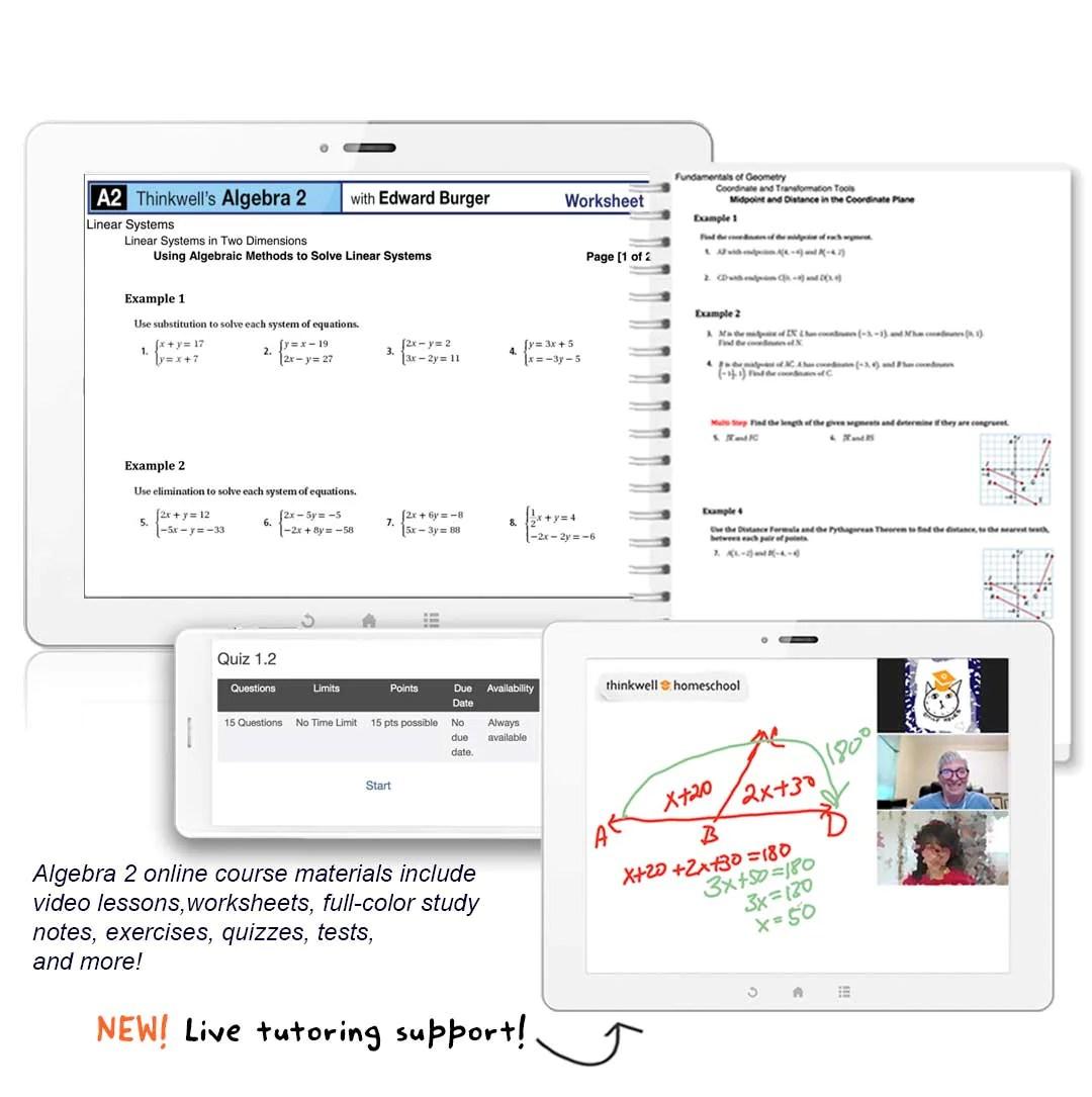 Algebra 2 Online Homeschool course   Thinkwell   Thinkwell Homeschool [ 1085 x 1080 Pixel ]
