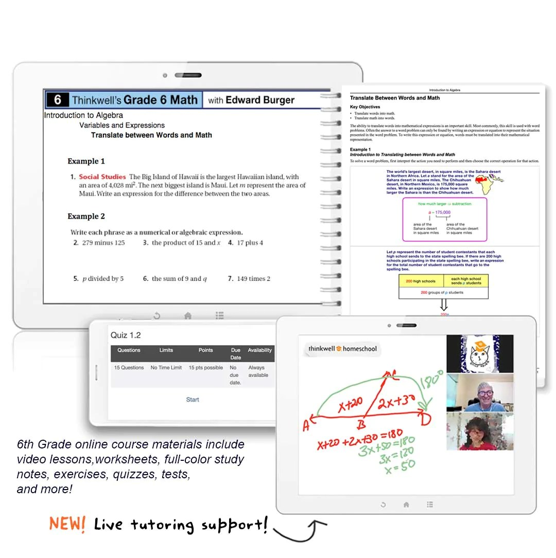 6th Grade Math Online Course with Worksheets   Thinkwell   Thinkwell  Homeschool [ 1085 x 1080 Pixel ]
