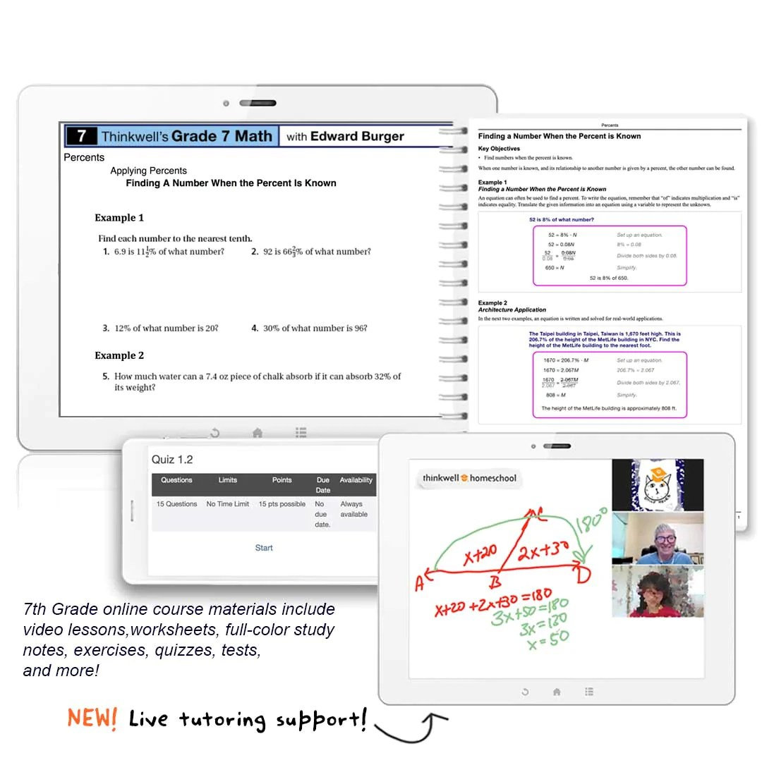 small resolution of Honors 7th Grade Math Online Course   Thinkwell   Thinkwell Homeschool
