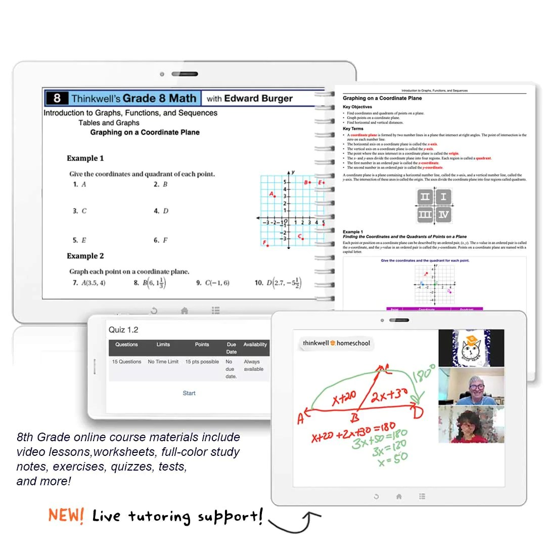 8th Grade Math Online Course   Thinkwell   Thinkwell Homeschool [ 1085 x 1080 Pixel ]