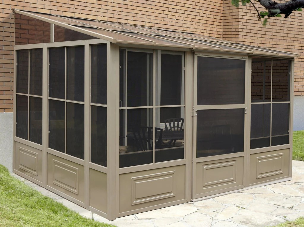 penguin sunroom patio enclosure kit gray tan with polycarbonate roof