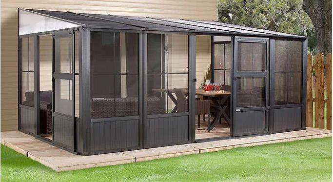 sojag charleston sunroom patio enclosure kit dark gray with steel roof