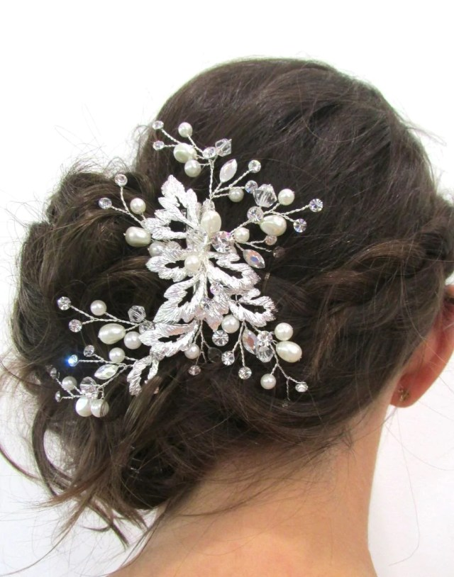 lolita swarovski & pearl silver bridal clip hairpiece