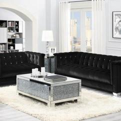Glam Sofa Set Aminach Bed In Brooklyn Coaster 505395 Chaviano Style Velvet Black 2pc Flatfair