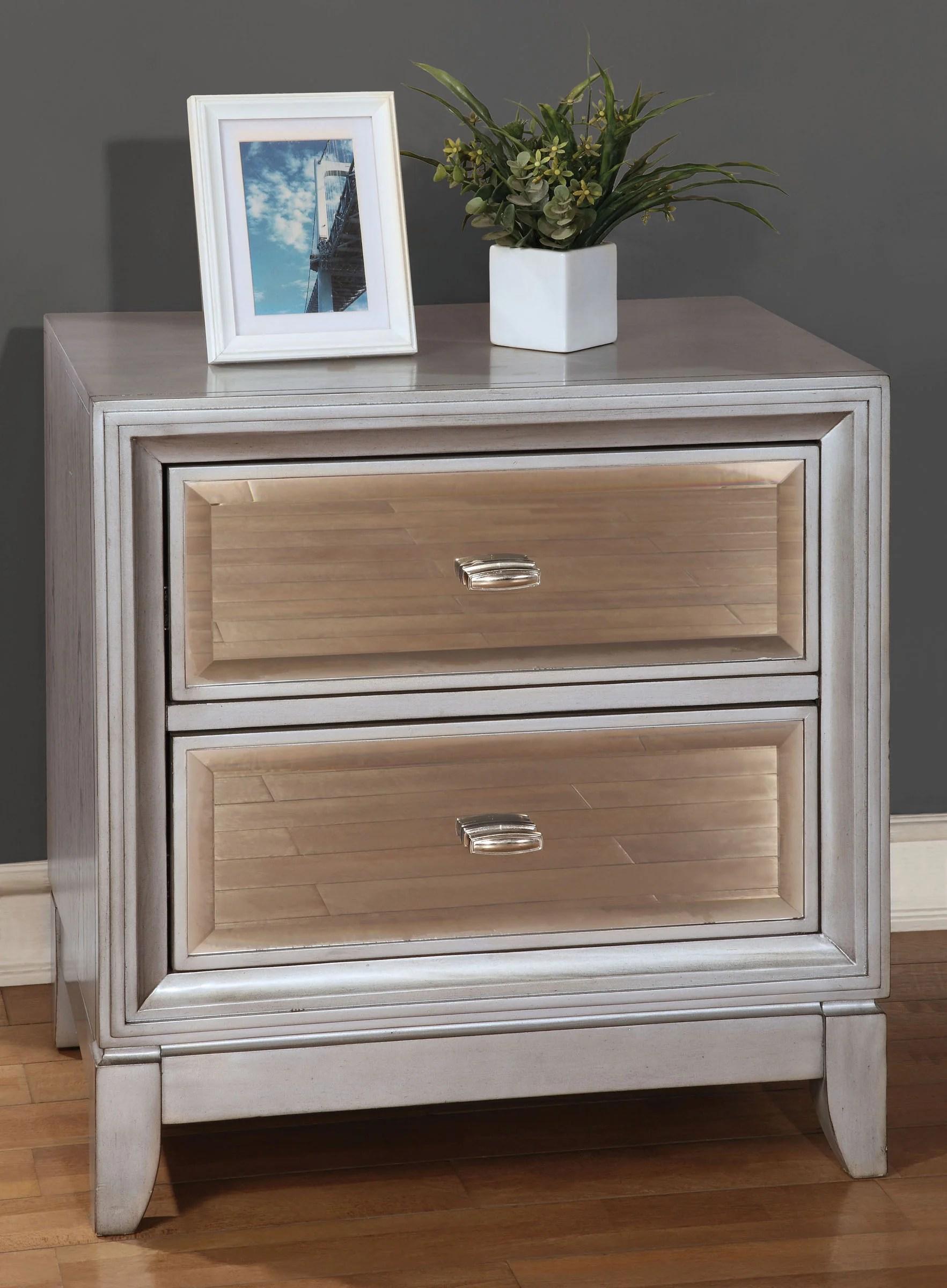 Furniture Of America Cm7295sv N Golva Silver Mirrored Nightstand
