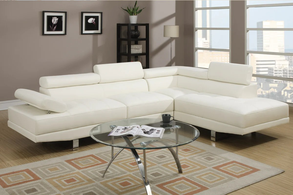 poundex light beige faux leather sectional sofa