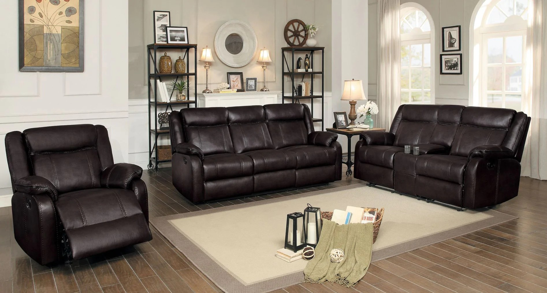 Jude 3pc Modern Dark Brown Leather Gel Match Double Reclining Sofa Set