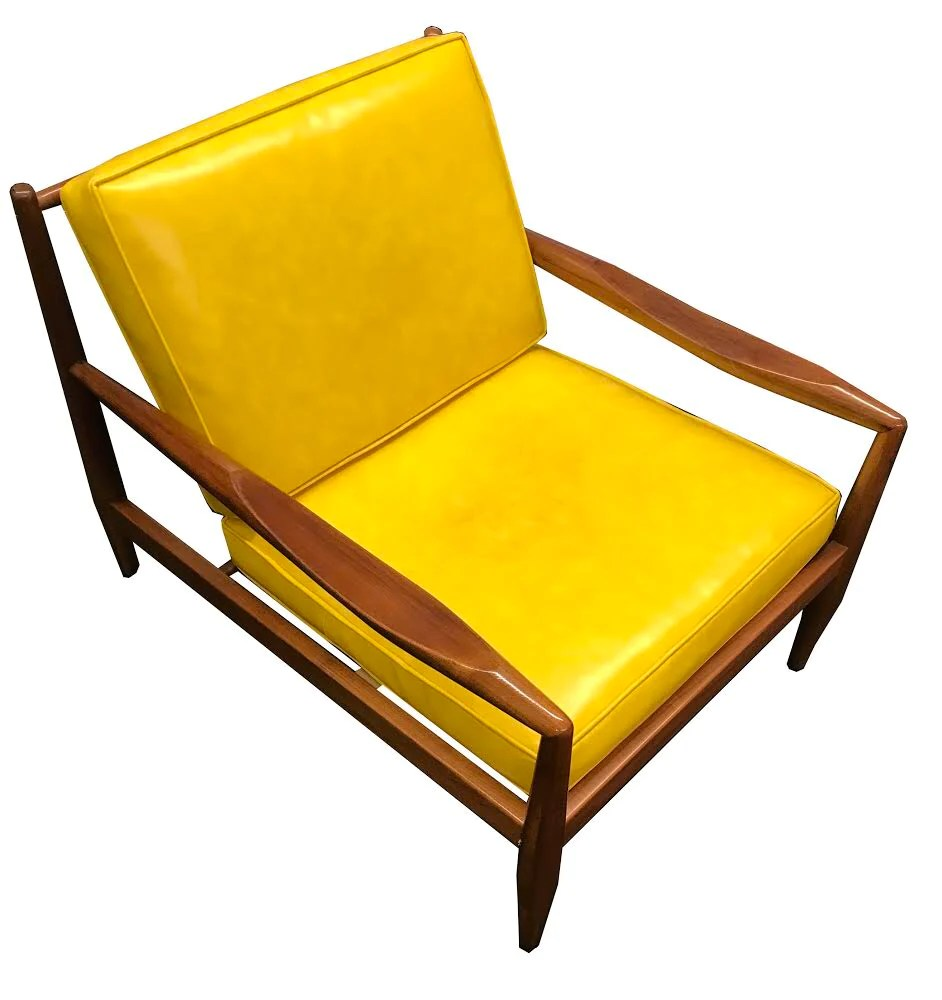 Danish Modern Lounge Chair Adrian Pearsall Danish Modern Walnut Low Lounge Chair Yellow Cushions