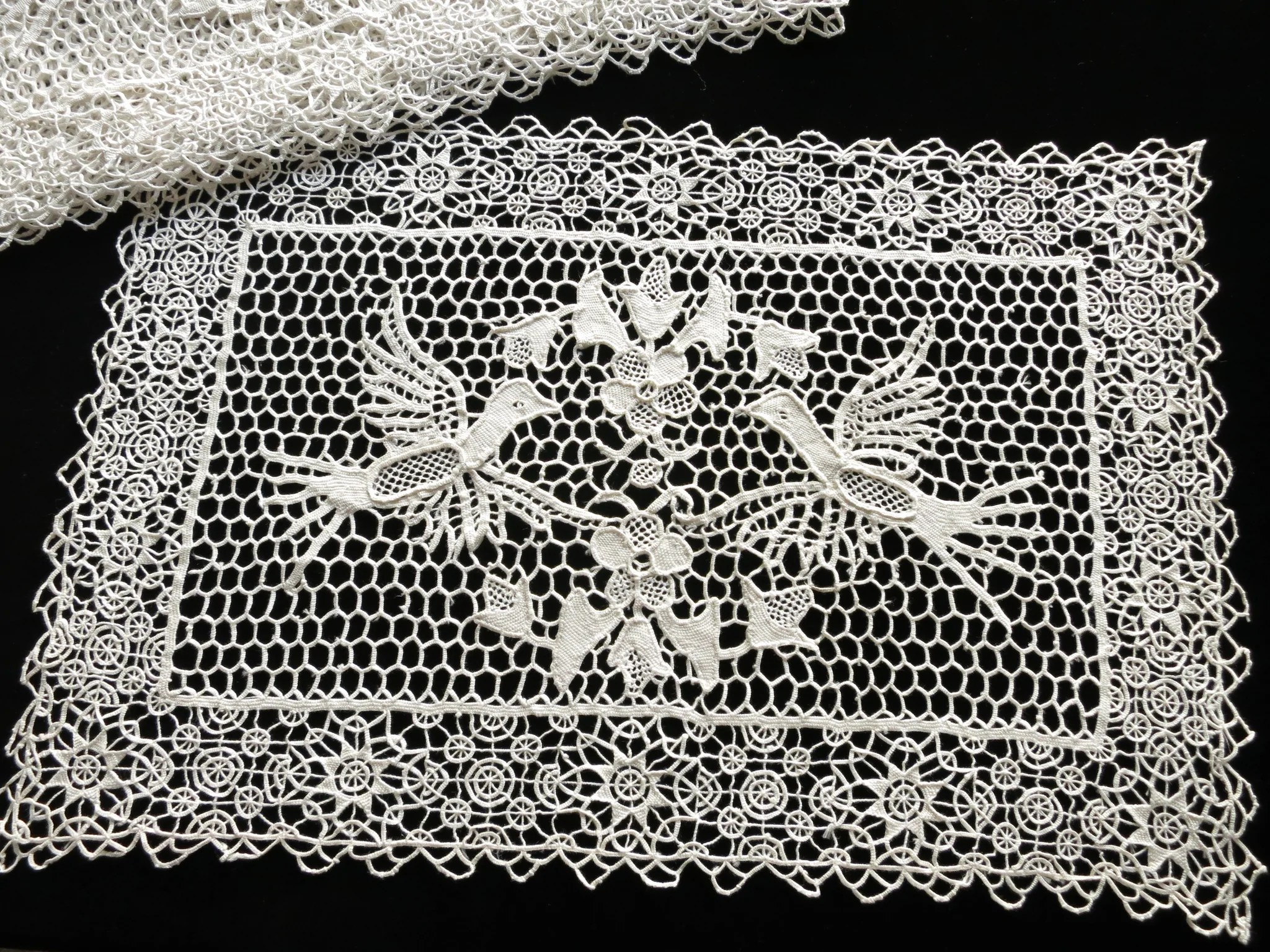 birds in needle lace