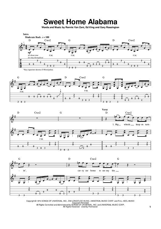 Sweet home alabama ukulele tablature by lynyrd skynyrd, chords in song are d,c,g. Sweet Home Alabama Quot Sheet Music By Lynyrd Skynyrd Alabama For Guitar Tab Sheet Music Now