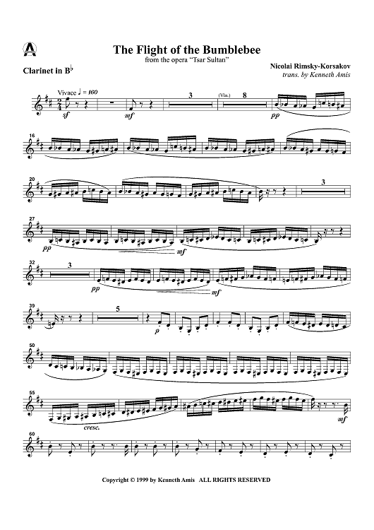 "Flight Of The Bumblebee Clarinet Sheet Music : flight, bumblebee, clarinet, sheet, music, Flight, Bumblebee, Opera, ""Tsar, Sultan"", Clarinet, Sheet, Musi..."
