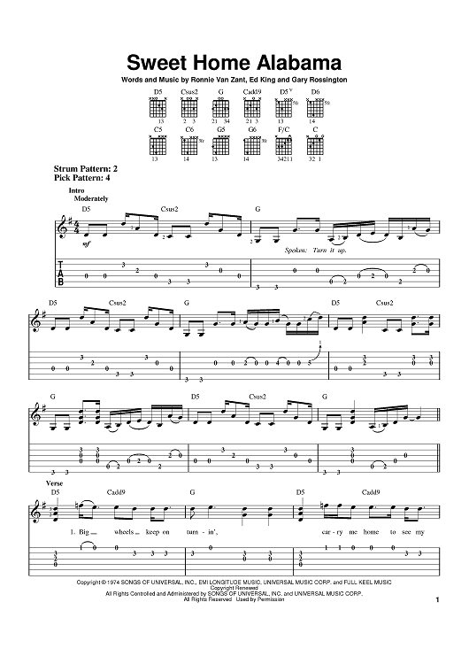 This free lynyrd skynyrd guitar riff is sweet home alabama. Sweet Home Alabama Quot Sheet Music By Lynyrd Skynyrd Alabama For Easy Guitar Tab Sheet Music Now