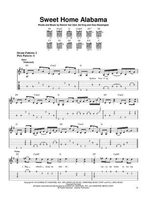 Nov 15, 2016· flute, piano. Sweet Home Alabama Quot Sheet Music By Lynyrd Skynyrd Alabama For Easy Guitar Tab Sheet Music Now