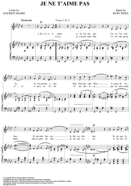 Je Ne T Aime Pas : T'aime, Sheet, Music, Piano/Vocal