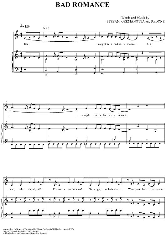 Bad Romance Sheet Music : romance, sheet, music, Romance