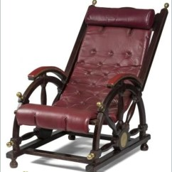 Deck Chair Images Fx Covers Eu Product Late 19th Early 20thc Mahogany And Red Leather With Brass Accents