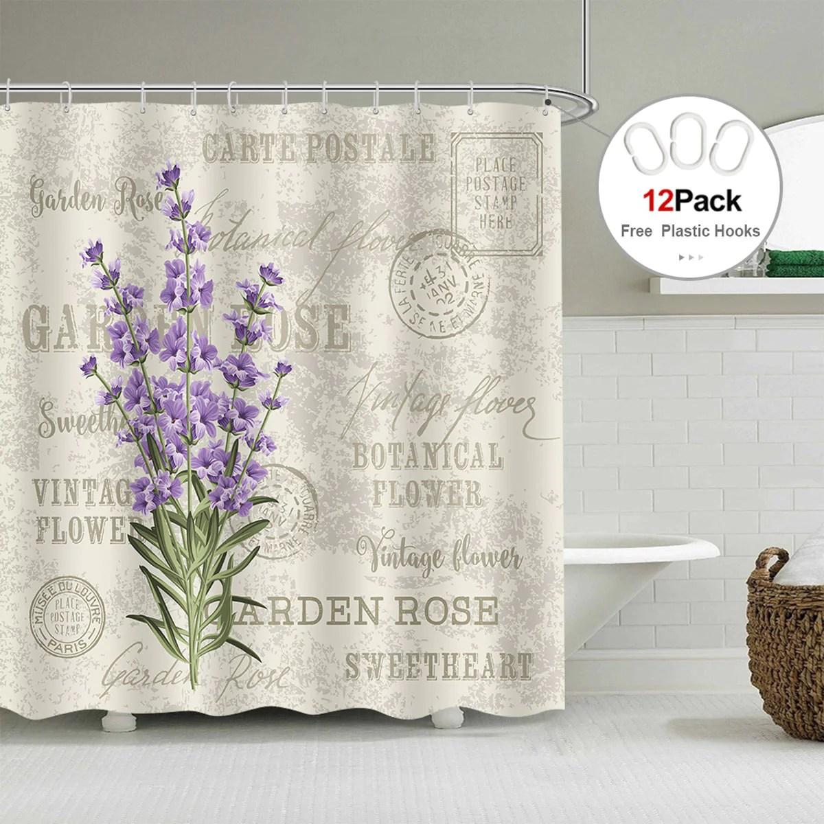 Riyidecor Lavender Vintage Postcard Shower Curtain Weighted