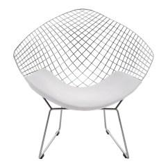Diamond Chair Replica Swivel Fabric Bertoia Chrome And White Valise Homewares