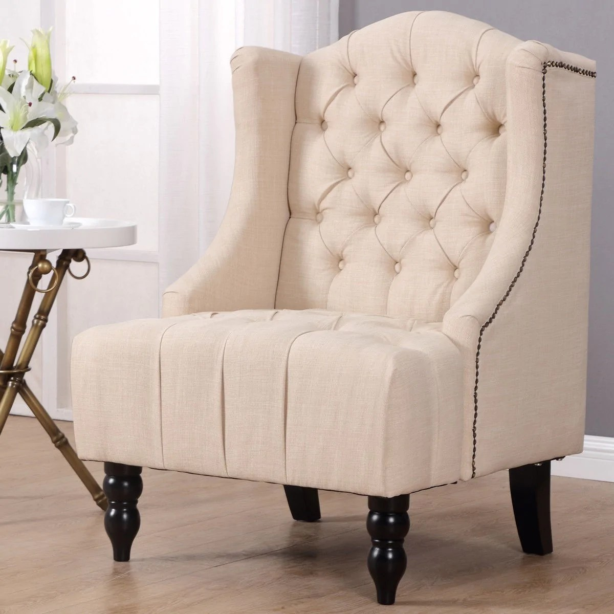 Wingback Tufted Chair Nailhead Modern Tall Wingback Tufted Accent Armchair