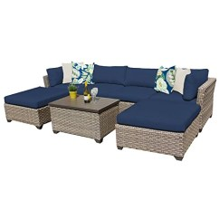 Lexmod Monterey Outdoor Wicker Rattan Sectional Sofa Set Wall Table Conversation Sets Zumo Home Tk Classics 07b Navy 7 Piece Patio Furniture