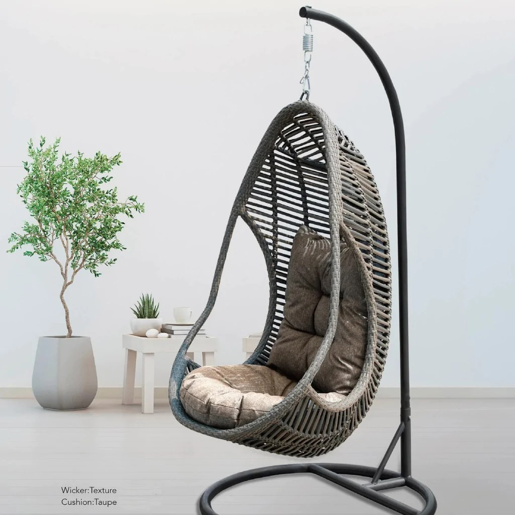 canna premium pe wicker hanging egg chair all weather