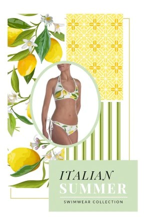 This collection by Erica Valentin features a summery Italian inspired lemon print with matching stripes and a yellow fresco style print