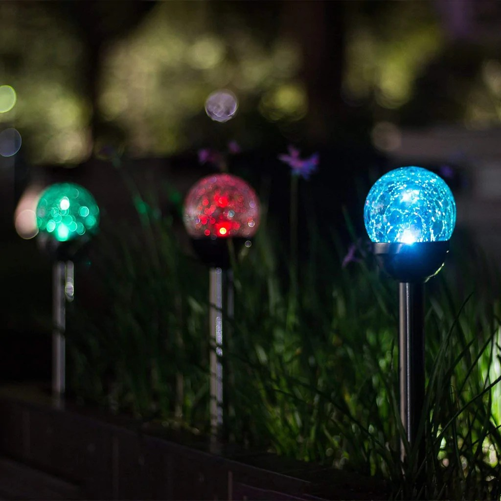 GIGALUMI Solar Lights Outdoor, Cracked Glass Ball Dual LED Garden Lights,  Landscape/Pathway