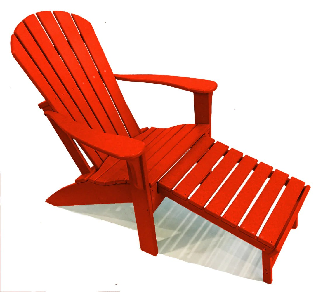 Red Adirondack Chairs Woodlike Adirondack Chair With Pull Out Ottoman Red