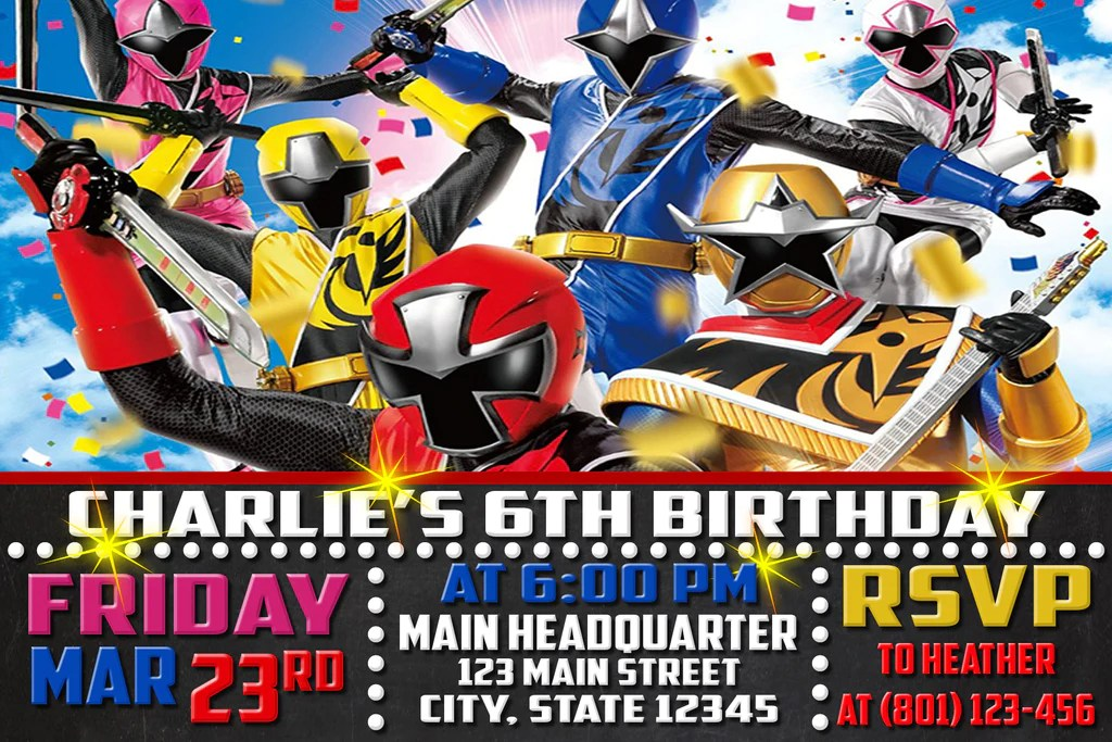 ninja steel birthday invitation