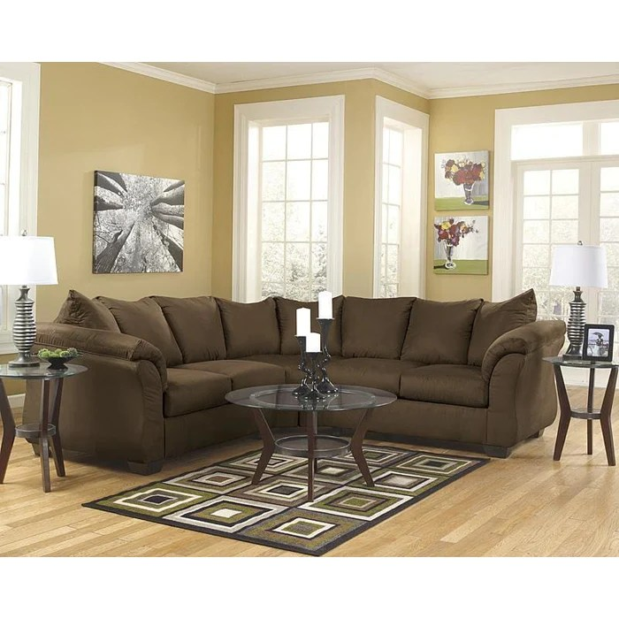 microfiber living room furniture chair cushions caf l sectional tornado brothers signature design by ashley darcy in cafe sectionals