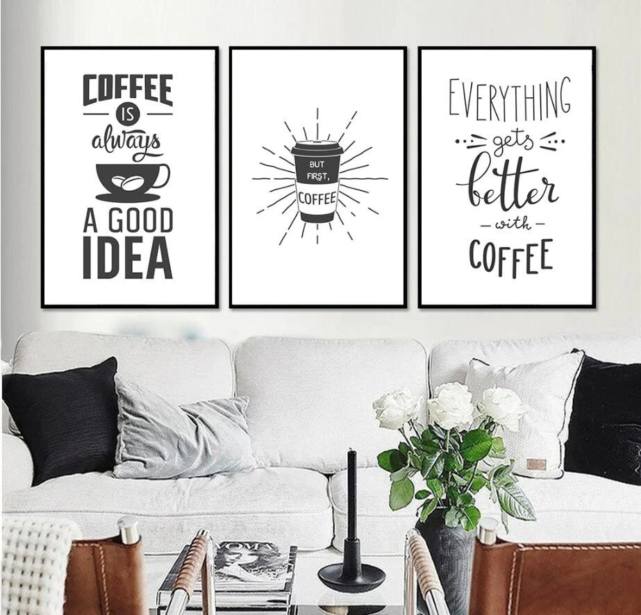 framed prints for kitchens repurposed kitchen cabinets almudena nordic minimalist coffee decorative painting on canvas with no frame home decoration wall art poster and