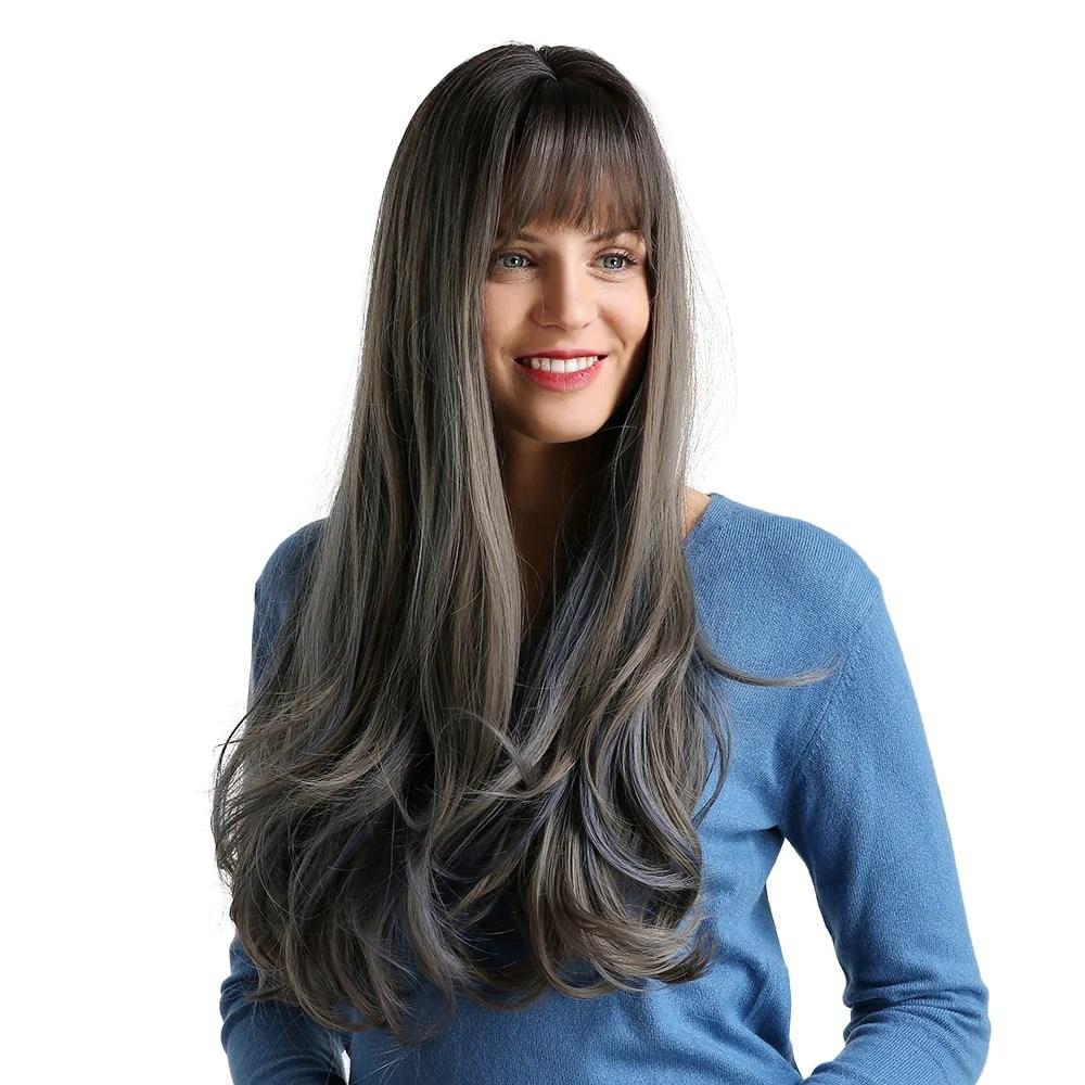 women synthetic hair wig neat bangs