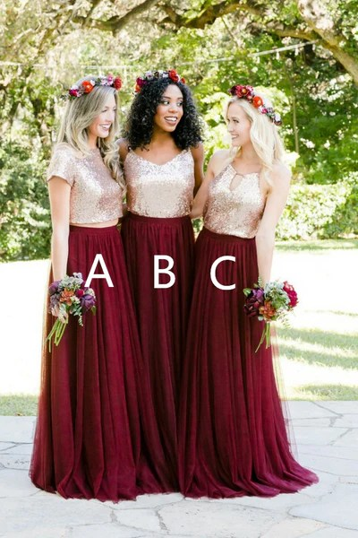 Gold Sequin Two Piece Burgundy Bridesmaid Dresses Tulle