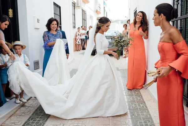 Satin Cathedral Train Wedding Dresses With Sleeves