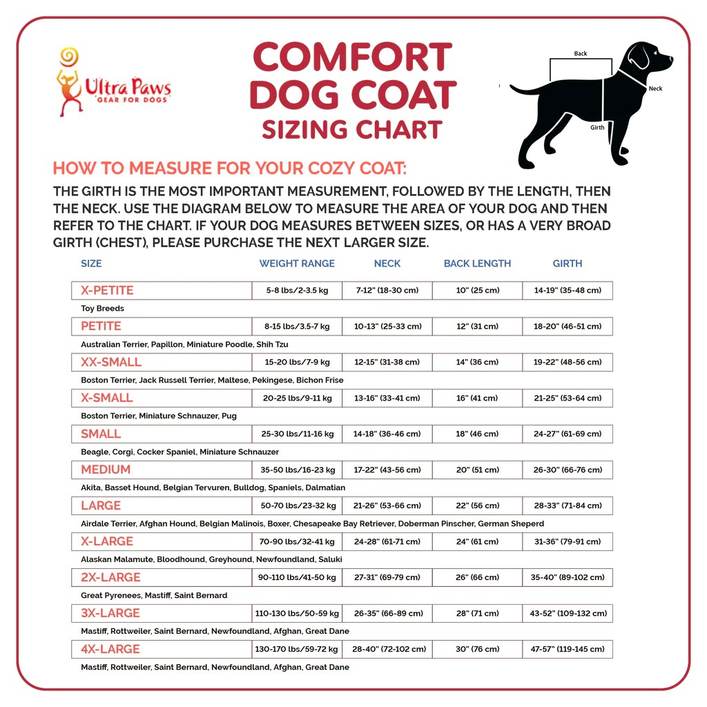 hight resolution of ultra paws comfort coat ultra reflective sizing chart