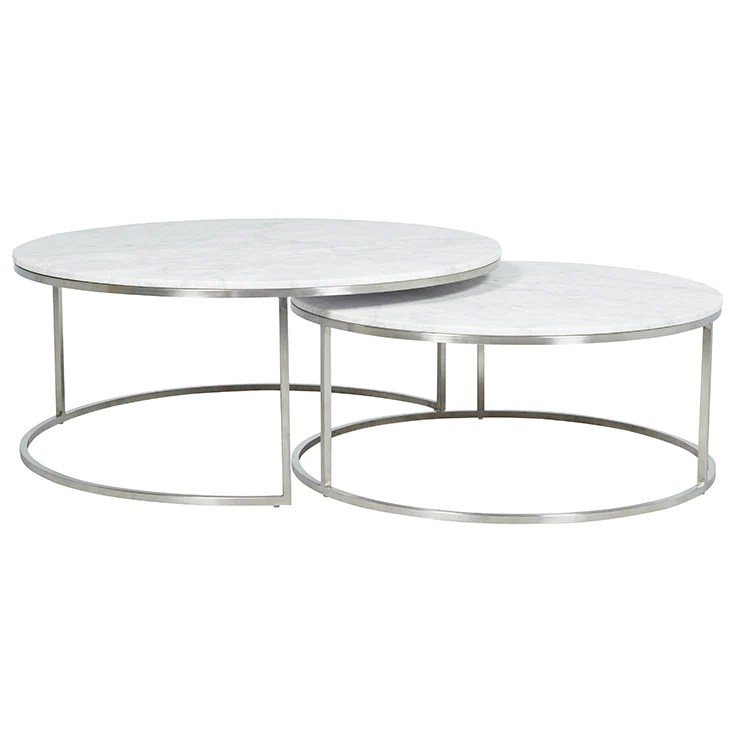 elle round marble nest coffee table white stainless steel