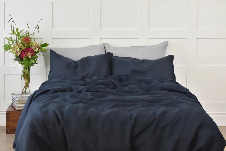 blackest blue linen bedding navy