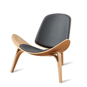 shell chair replica aluminum webbed lawn chairs hans wegner style three legged ash plywood black faux leather living room furniture