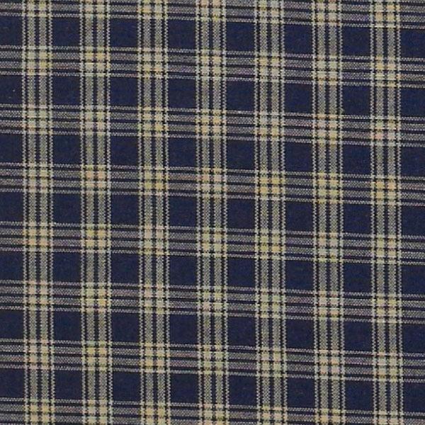 country primitive navy blue plaid homespun shower curtain