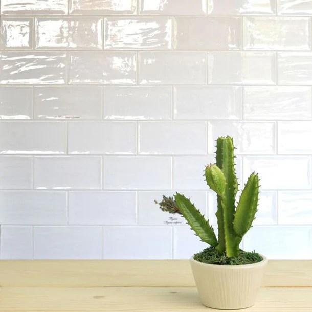 10x20cm artisan white brick gloss tile
