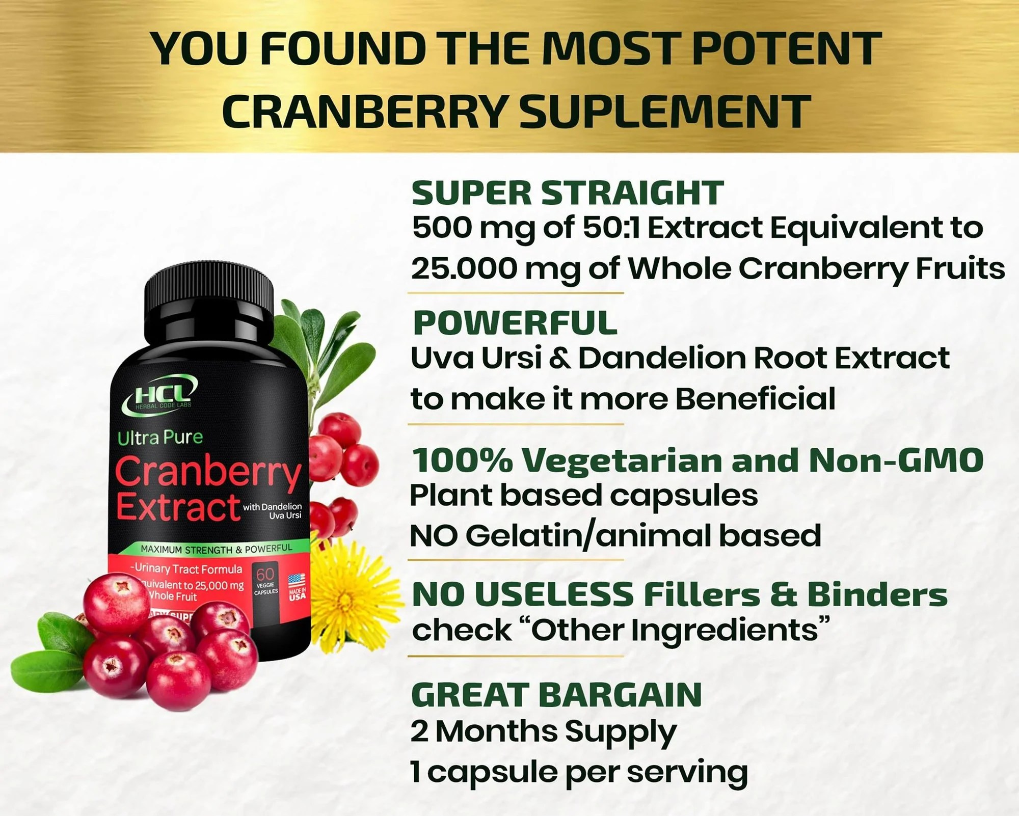 Cranberry Extract Pills - Herbal Code Labs Nutrition