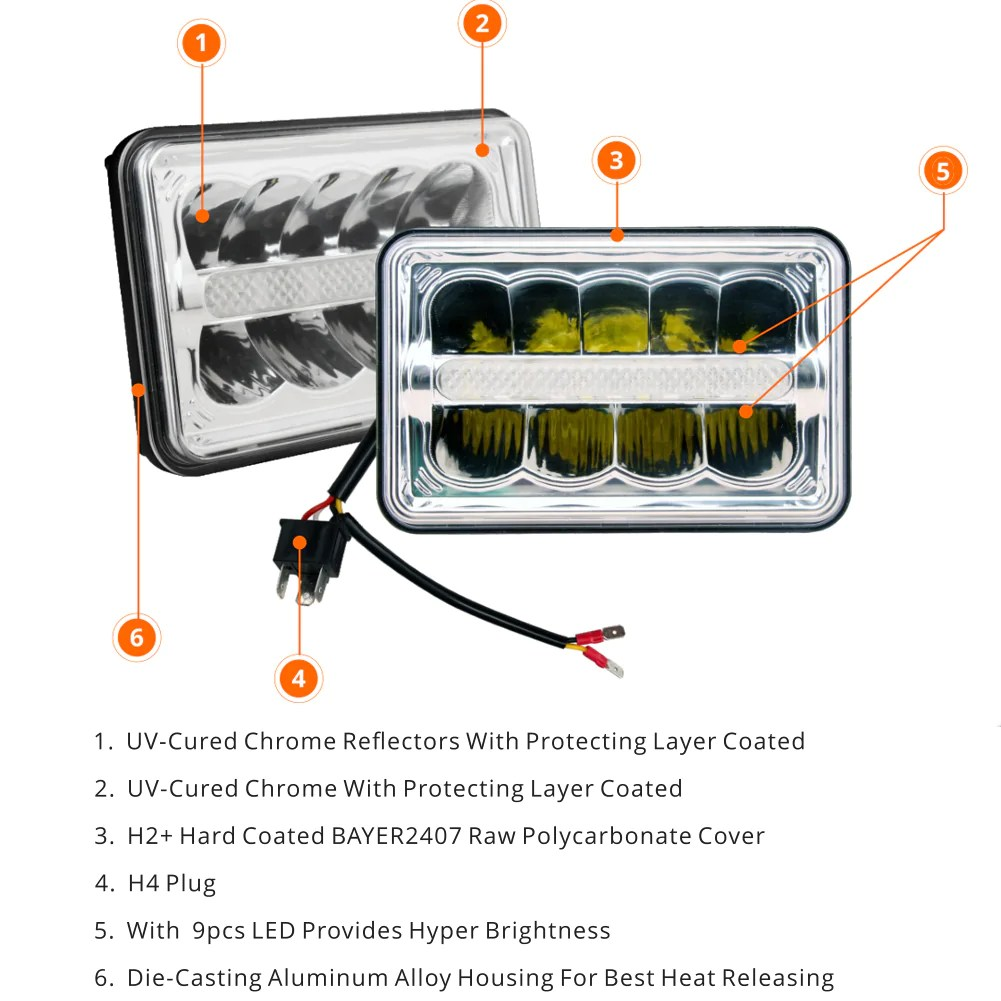 hight resolution of  2pcs 4x6 45w rectangle auto light led headlight 4 x6 inch sealed beam headlamps